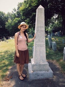 Me standing by the grave of my great, great+ grandpa, William Bradford, the Mayor of Plymouth Plantation.