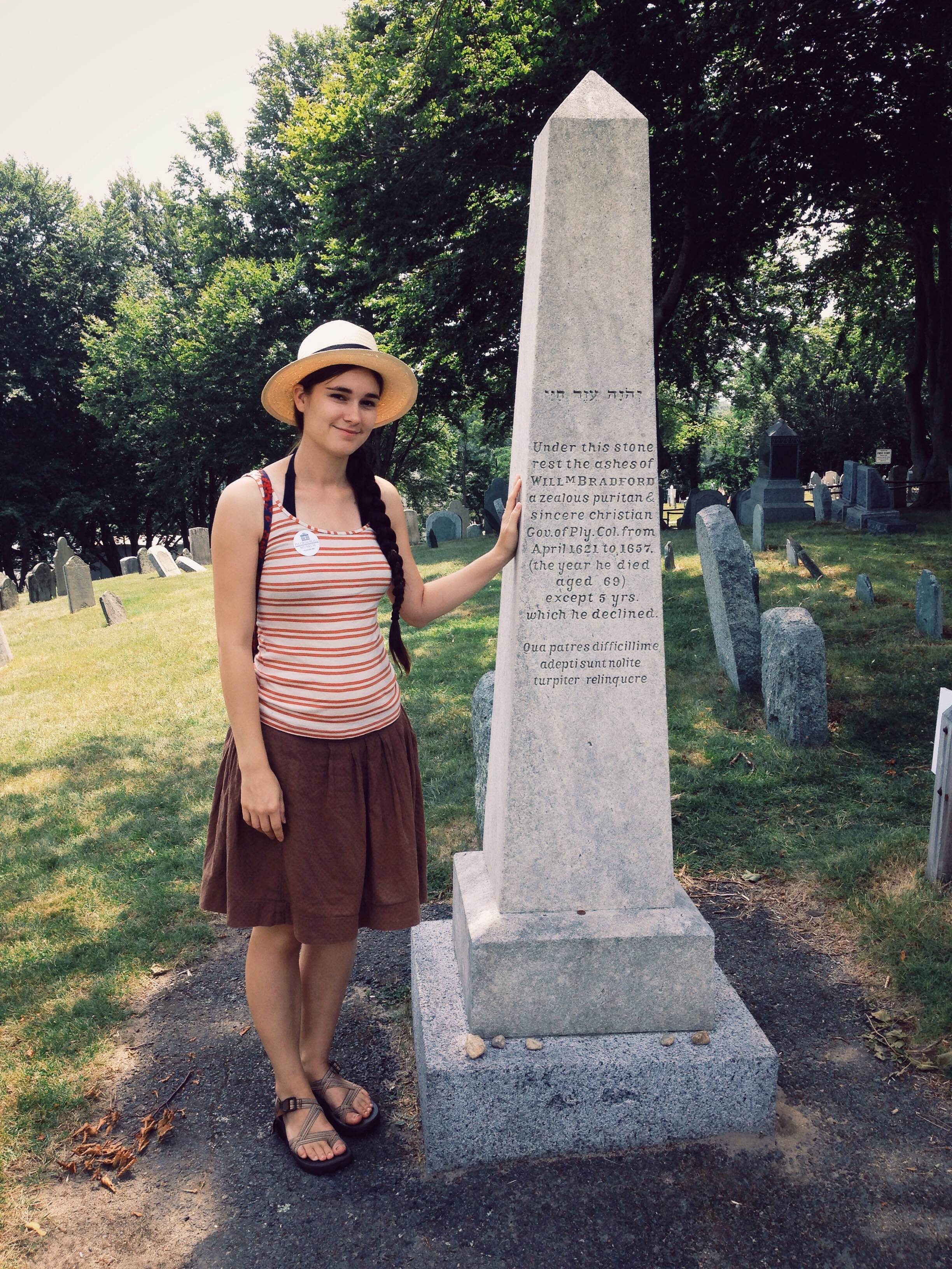 the first thanksgiving my pilgrim ancestor william bradford me standing by the grave of my great great grandpa william bradford the